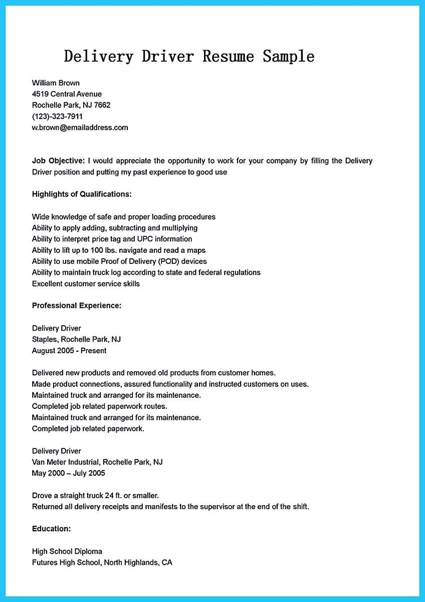 sample of driver resume