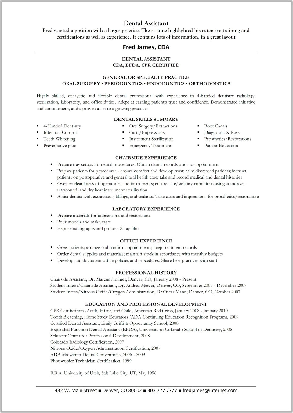Dental assistant Resume - 42 Awesome Dental assistant Resume Templates
