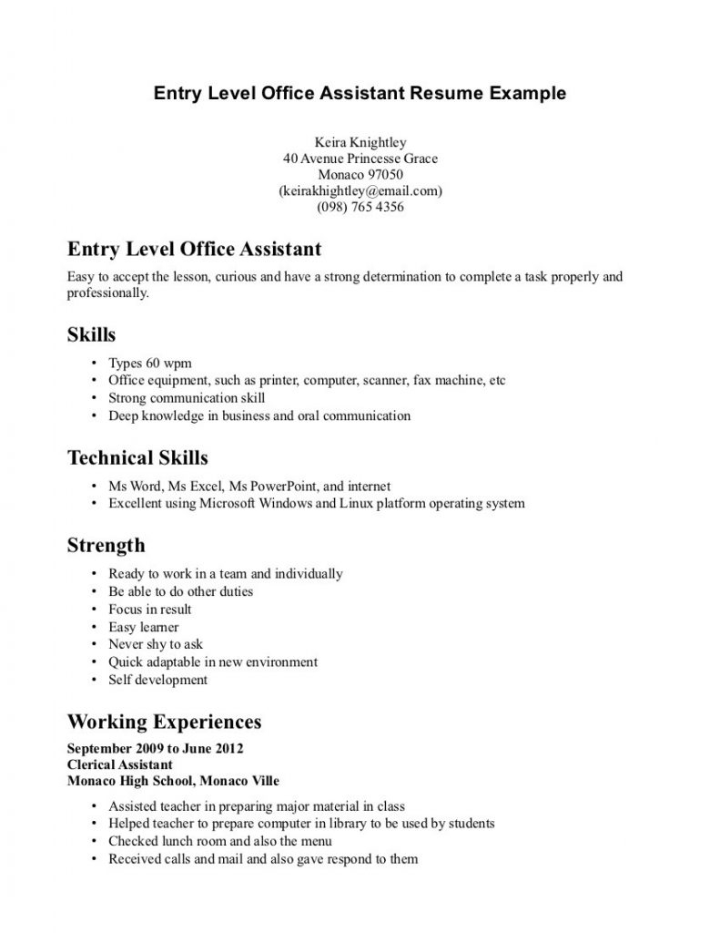 Dental assistant Resume Examples No Experience - Entry Level Resumes Templates Ownforum