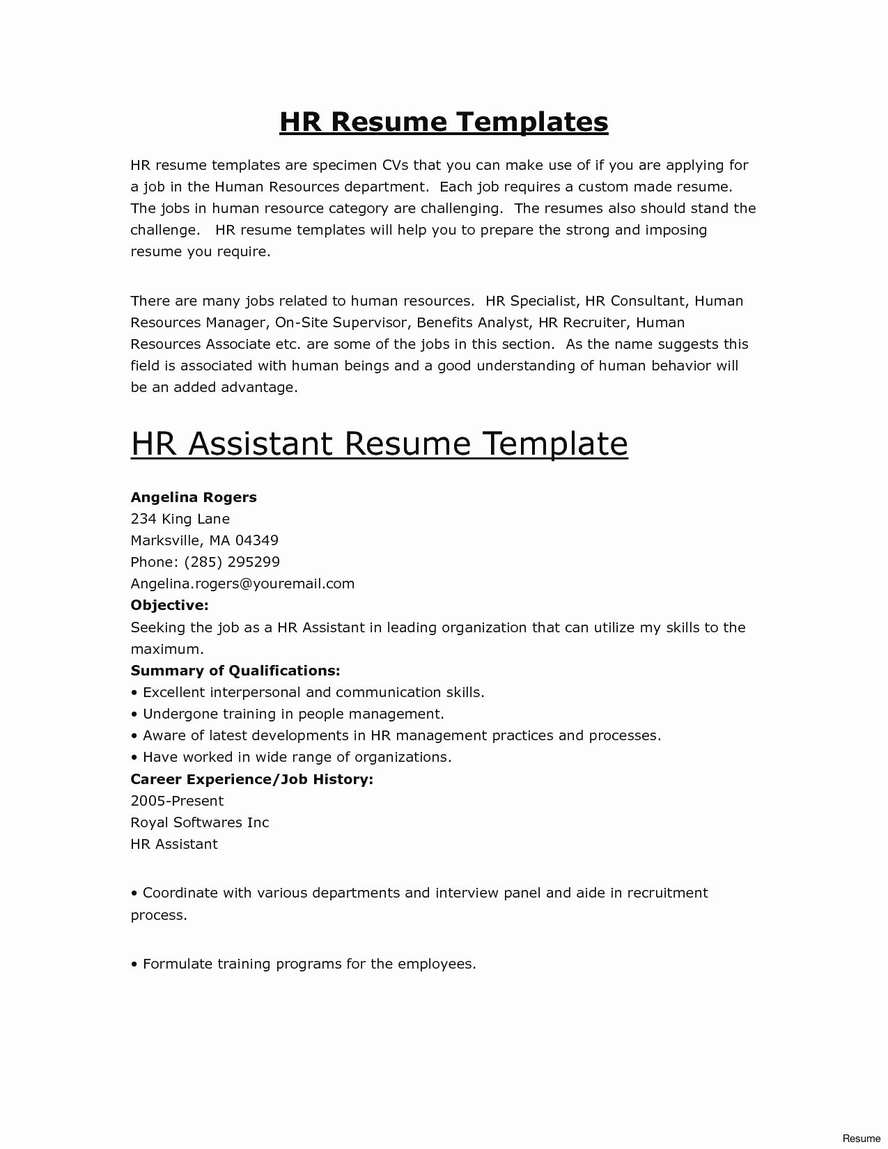 Dental assistant Resume No Experience - Sample Human Resources assistant Resume Valid Sample Resume No
