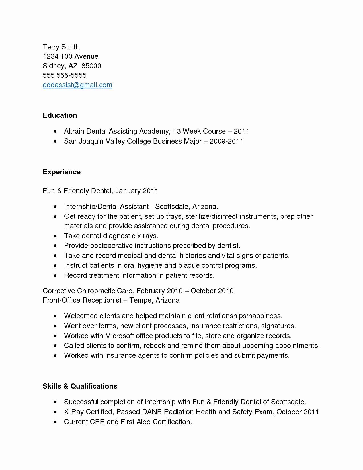 Dental assistant Resume with No Experience - Sample Resume for Dental assistant with No Experience Awesome Entry