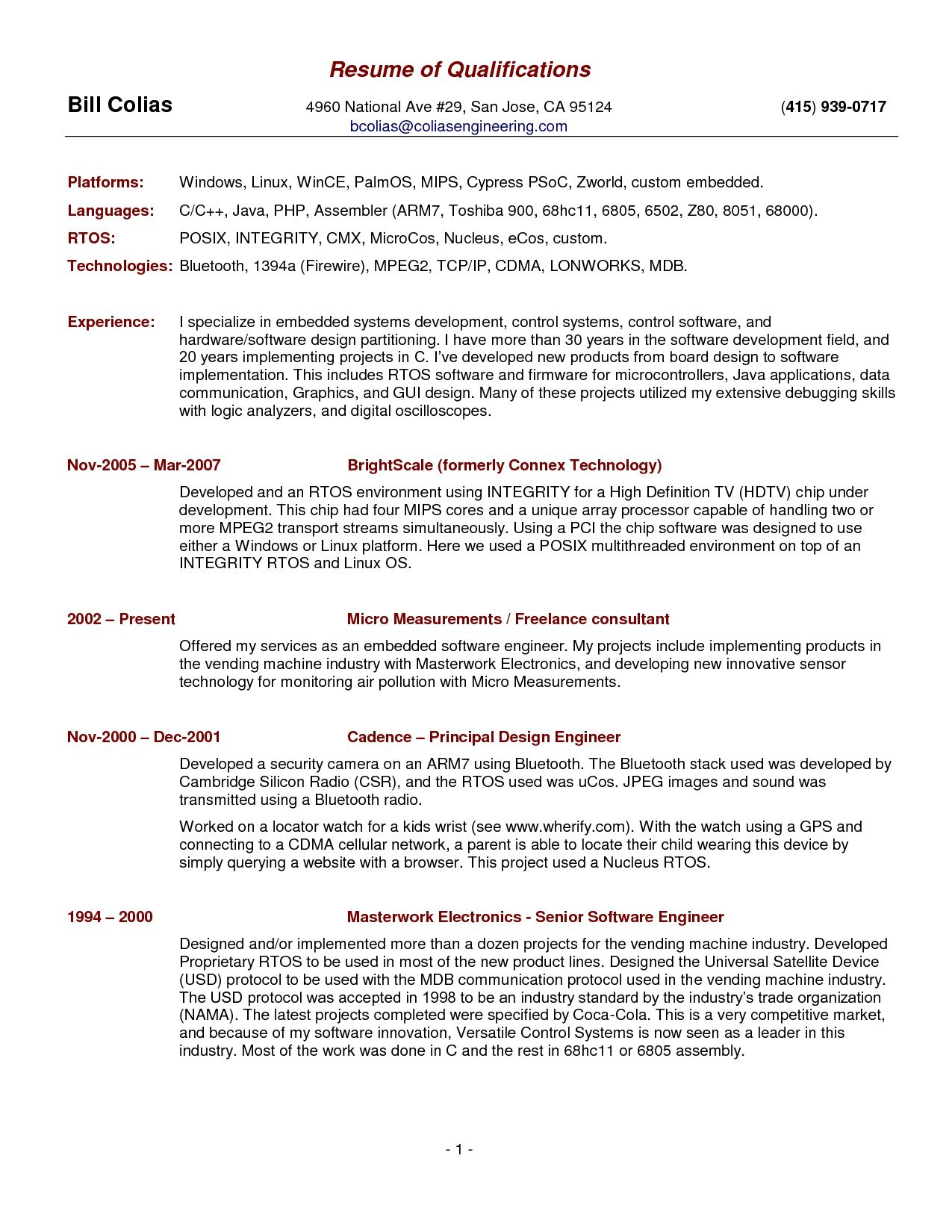 Describe Your Computer Skills Resume Sample - Free Resume Template Summary Qualifications