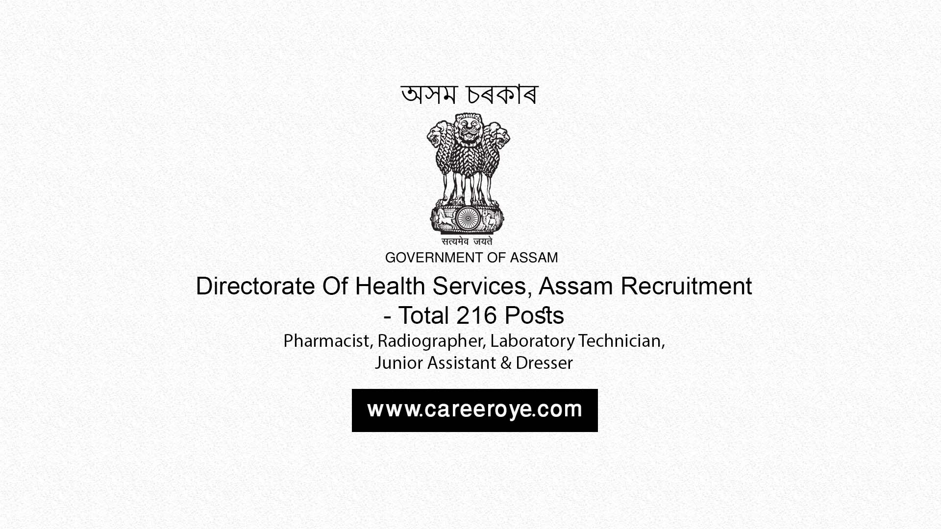 Dhs Personal assistant Job Description - Directorate Of Health Services assam Recruitment 2017 216 Posts