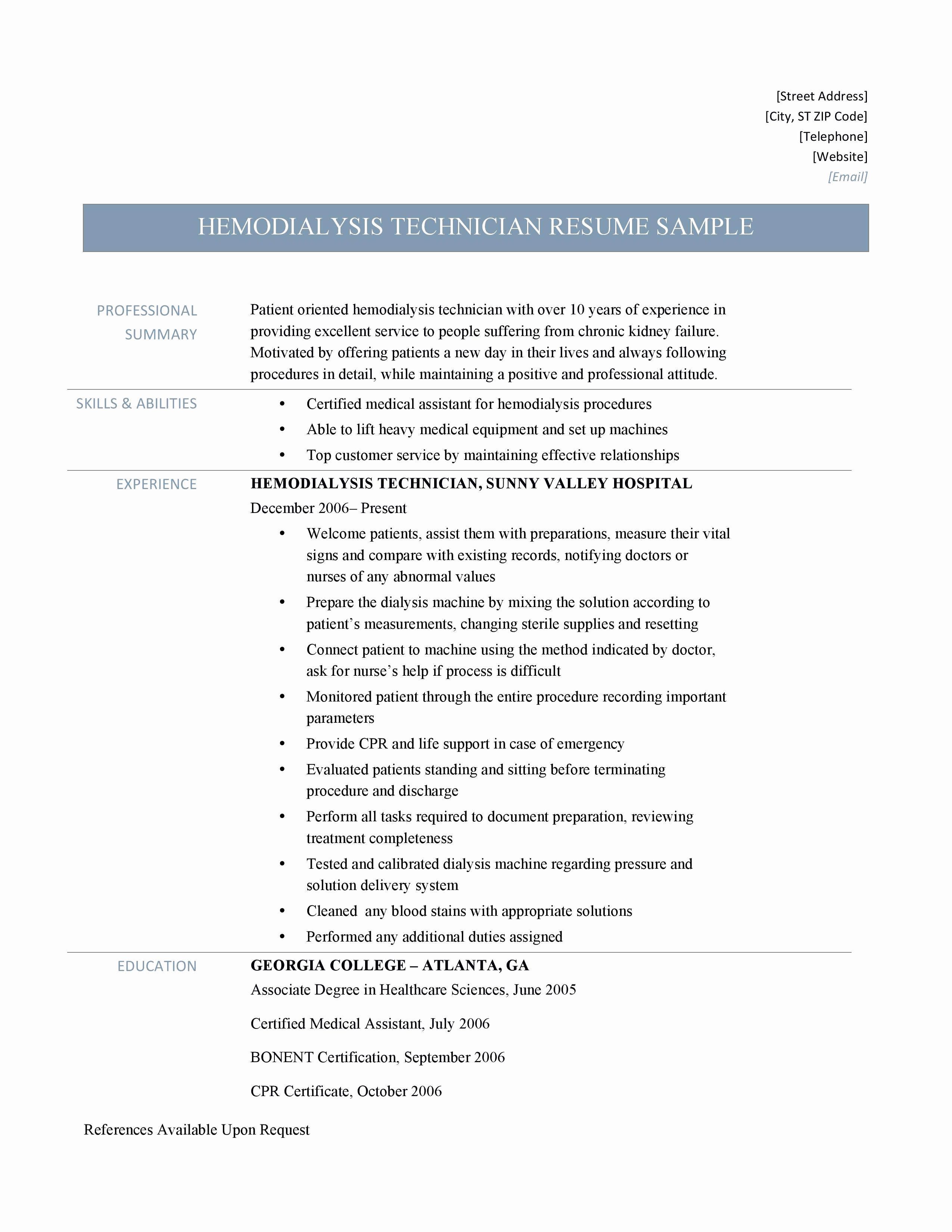 9 Dialysis Technician Resume Examples