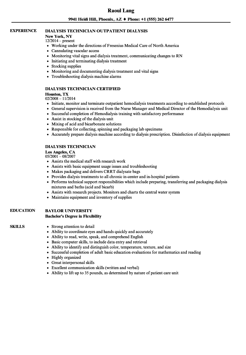 Dialysis Technician Resume Objective - Sample Resume for Dialysis Technician Hemodialysis Technician