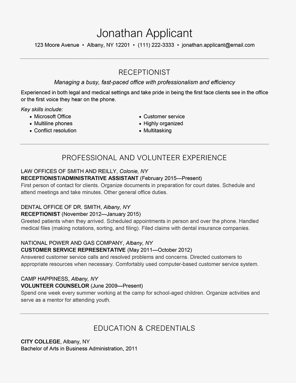 Direct Care Worker Job Duties - Receptionist Skills Job Description and Resume Example