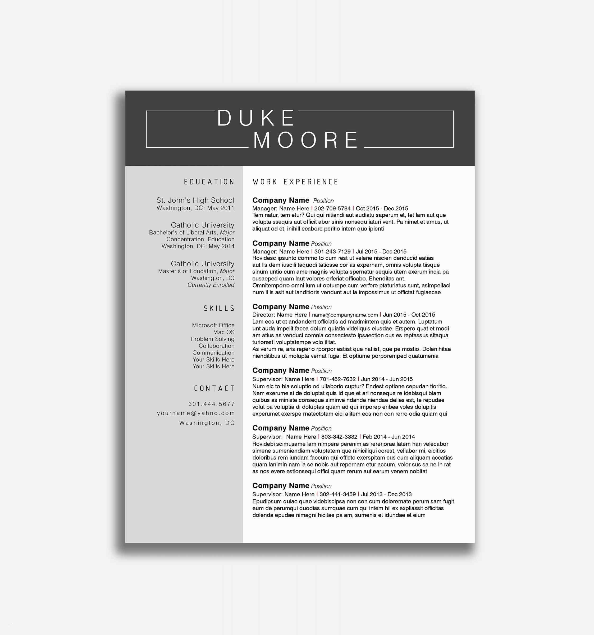 Duke Resume Template - 35 Lebenslauf Universität Muster Jacksongariety