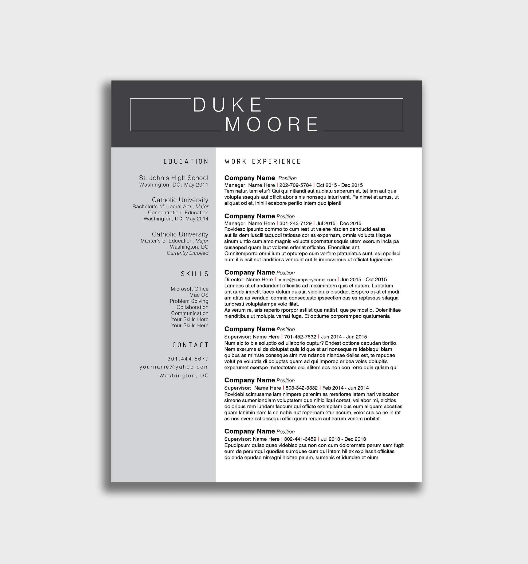 Duke Resume Template - Kostenlose Word Vorlage Lebenslauf Elegant Resume Template Word
