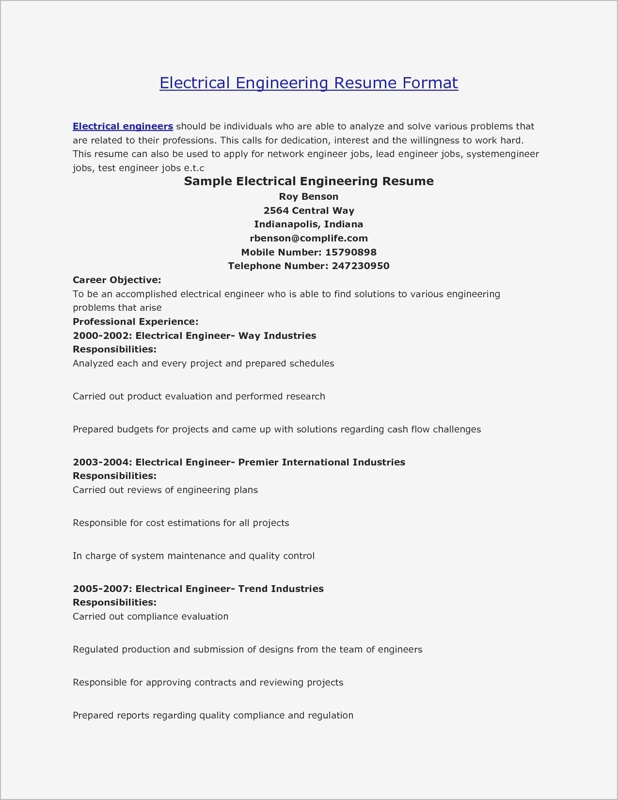 Electrical Resume Template - 17 Inspirational Maintenance Resume Sample