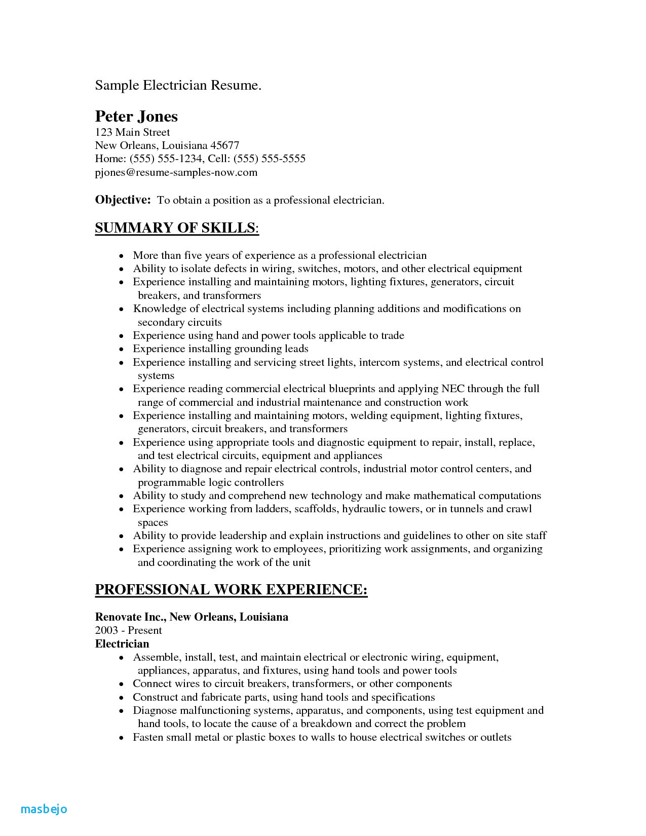Electrician Apprenticeship Resume Example - Journeyman Electrician Resume Examples 23 Resume Objective for