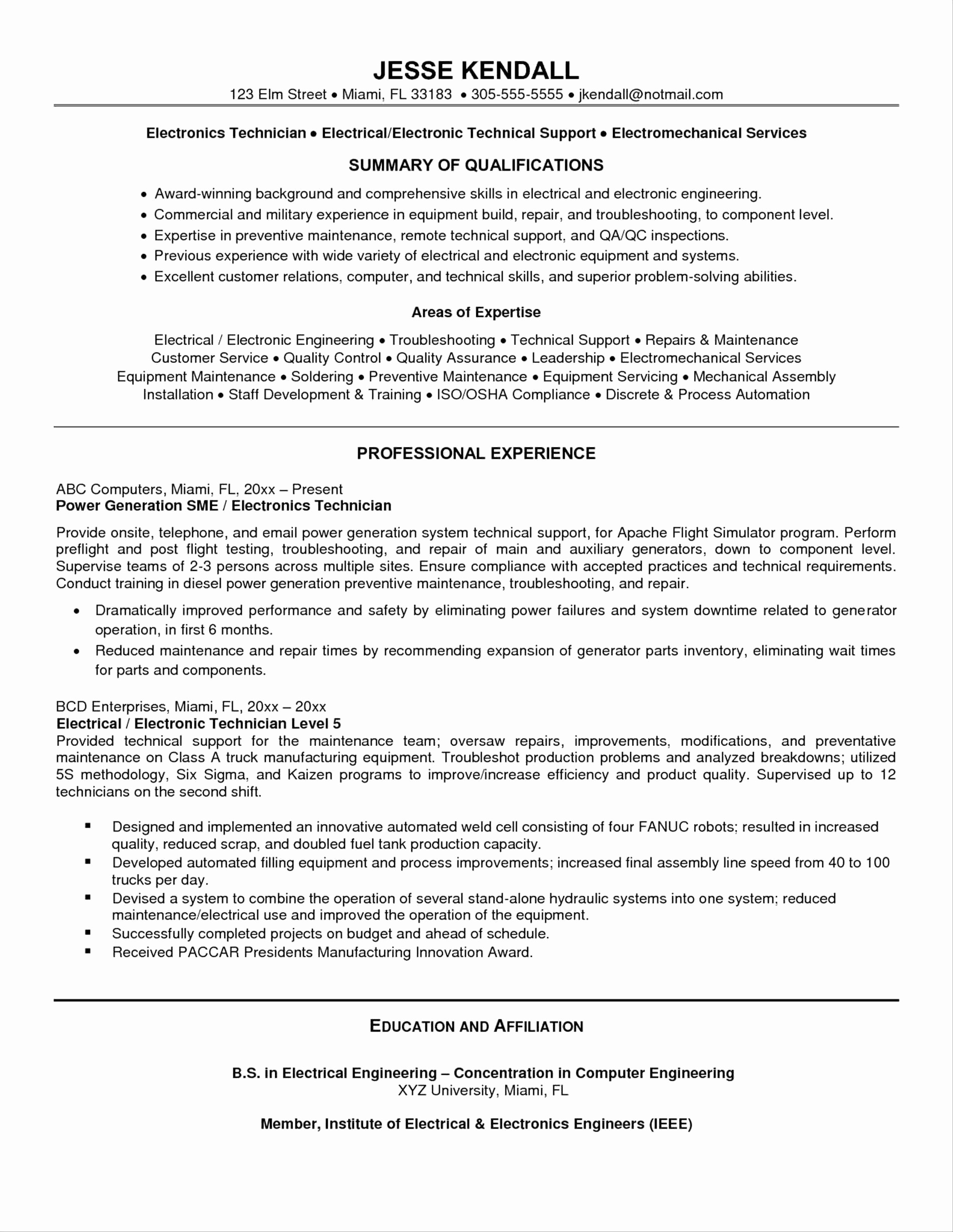 Electronics Technician Resume Template - Pharmacy Technician Resume Skills Awesome Skills Summary for Resume
