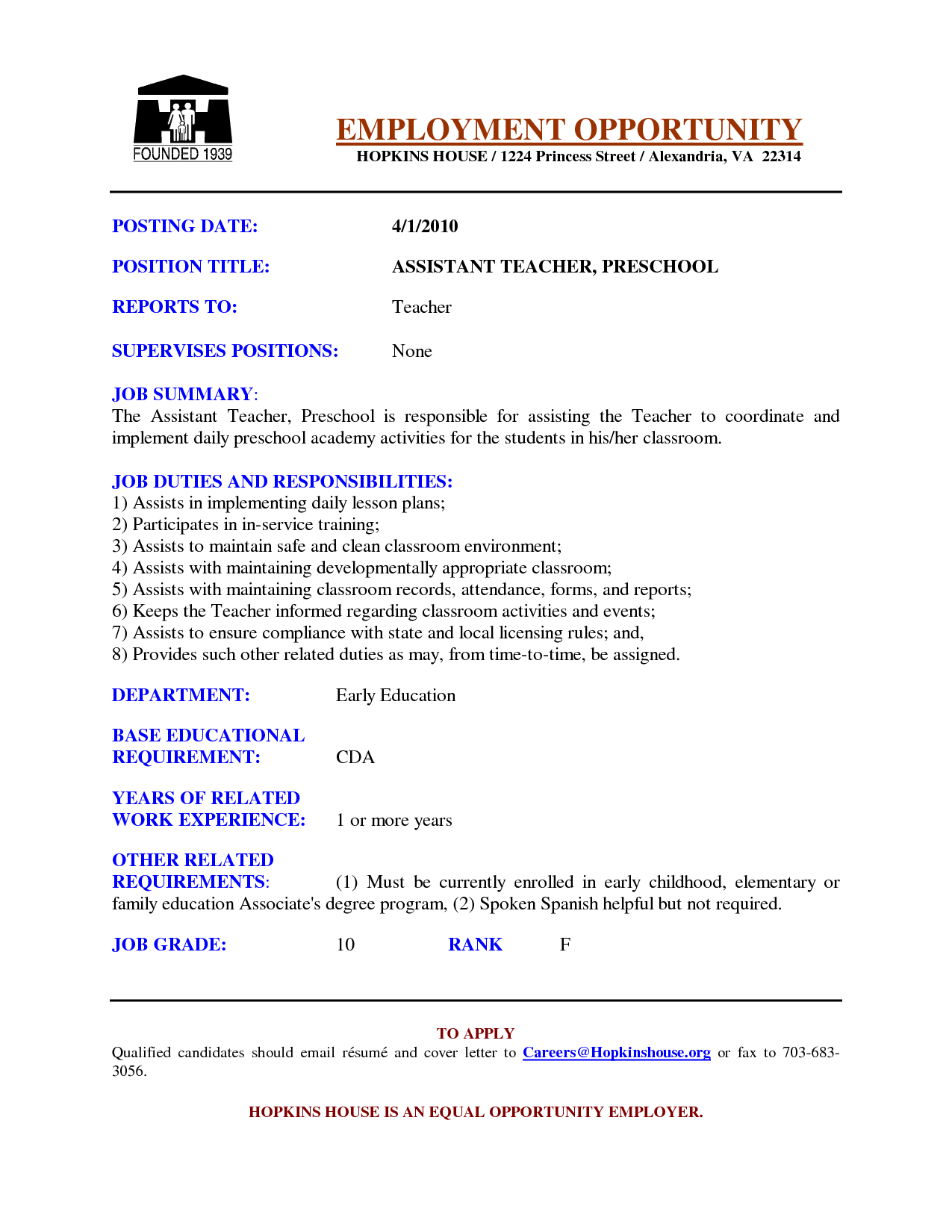 Elementary School Teacher Resume Template - Preschool assistant Teacher Resume Examples Google Search