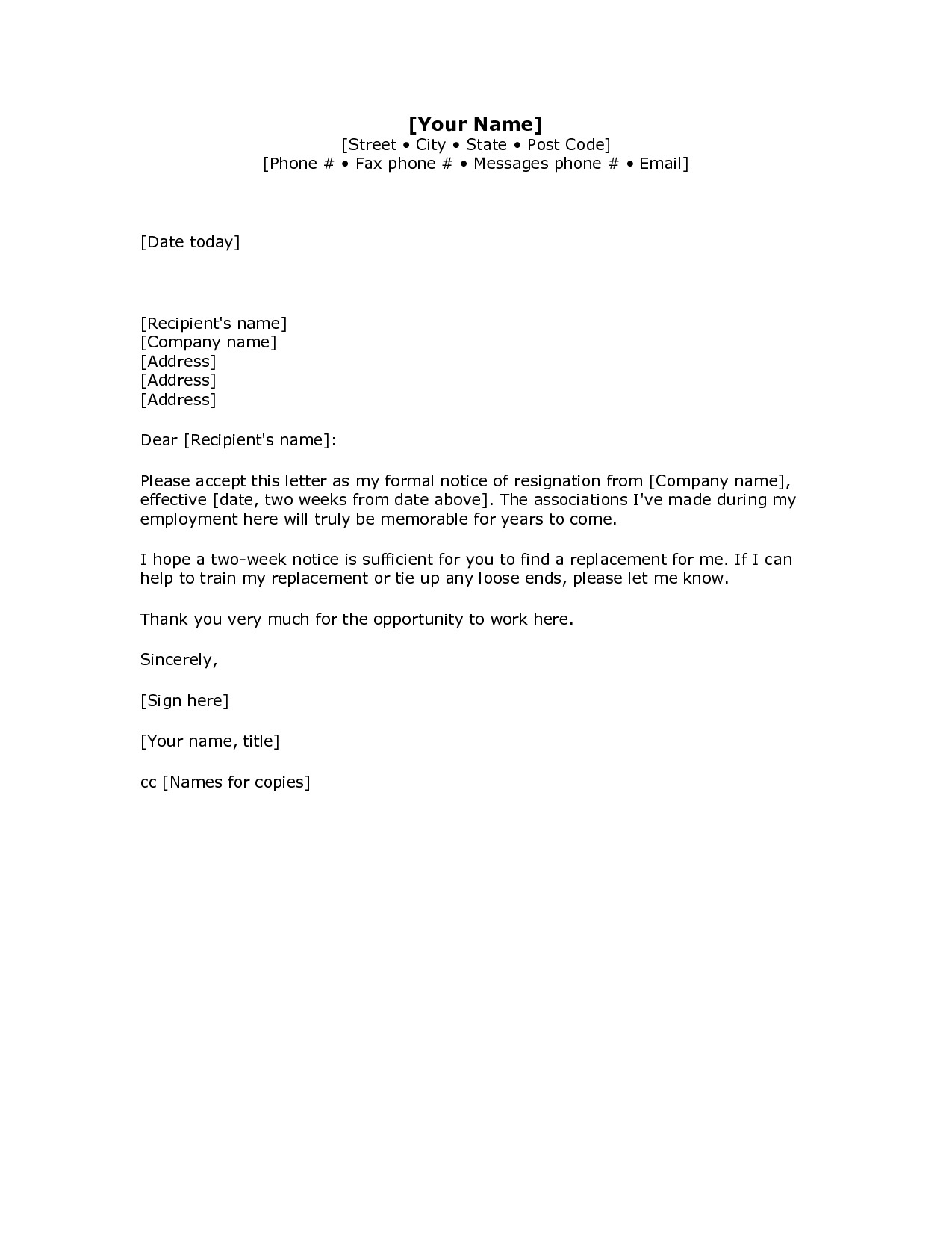 Employer Name Mean - 2 Weeks Notice Letter Resignation Letter Week Notice Words Hdwriting