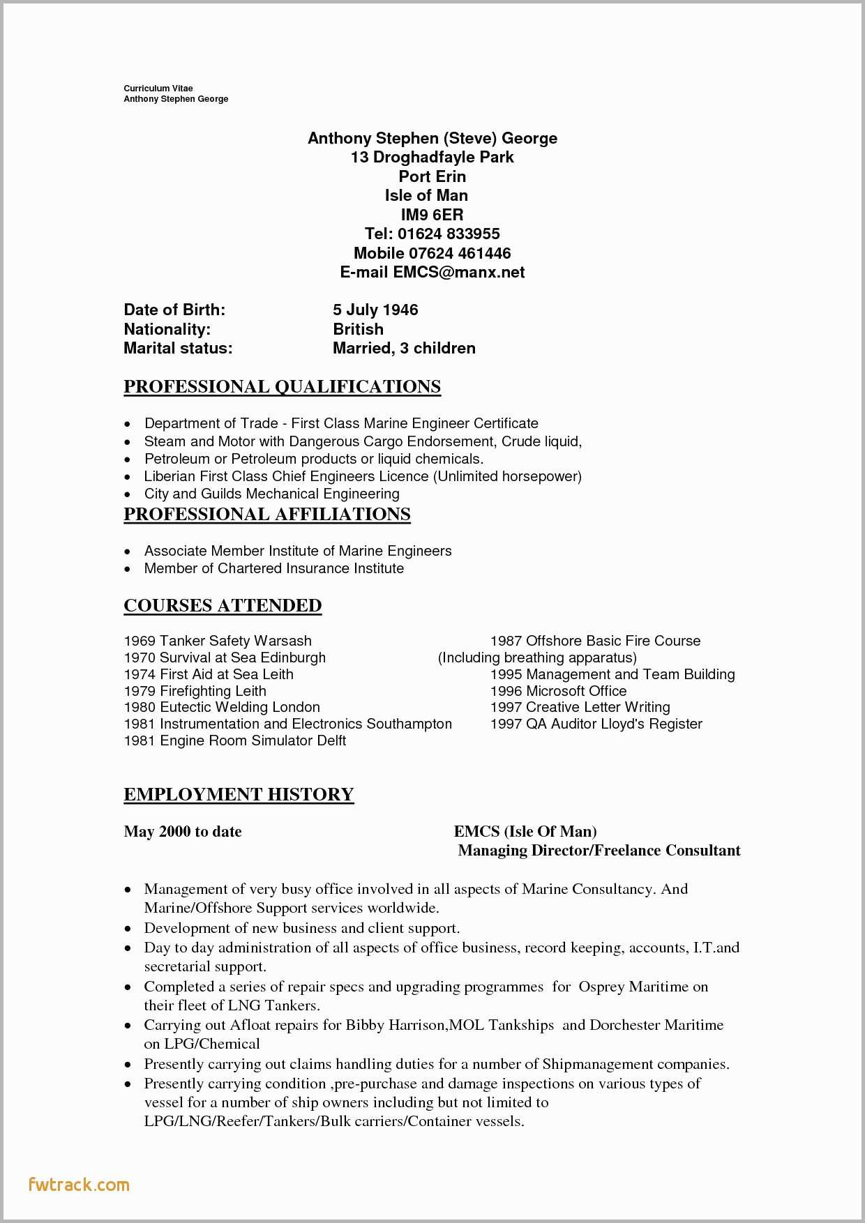 Engineering Resume format - Mechanical Engineer Resume Template Fwtrack Fwtrack
