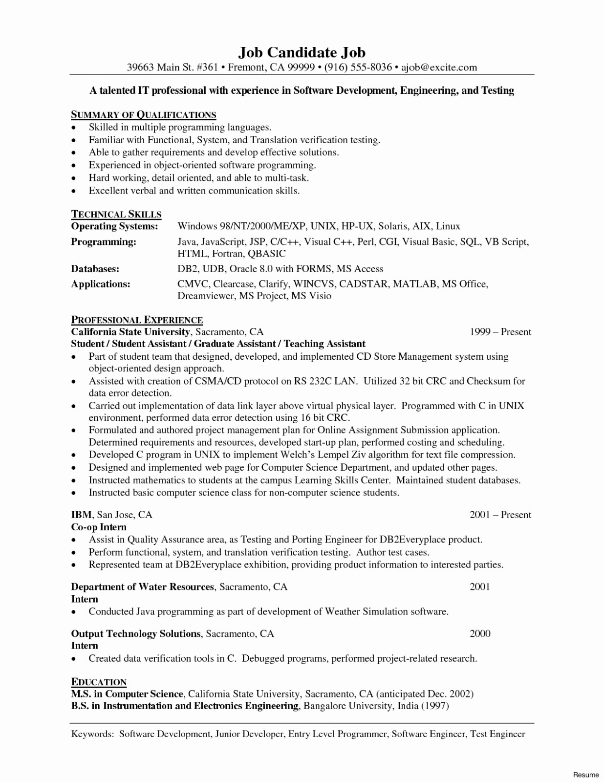 Engineering Resume Template - Quality Engineer Resume Regular Programmer Resume Template Lovely