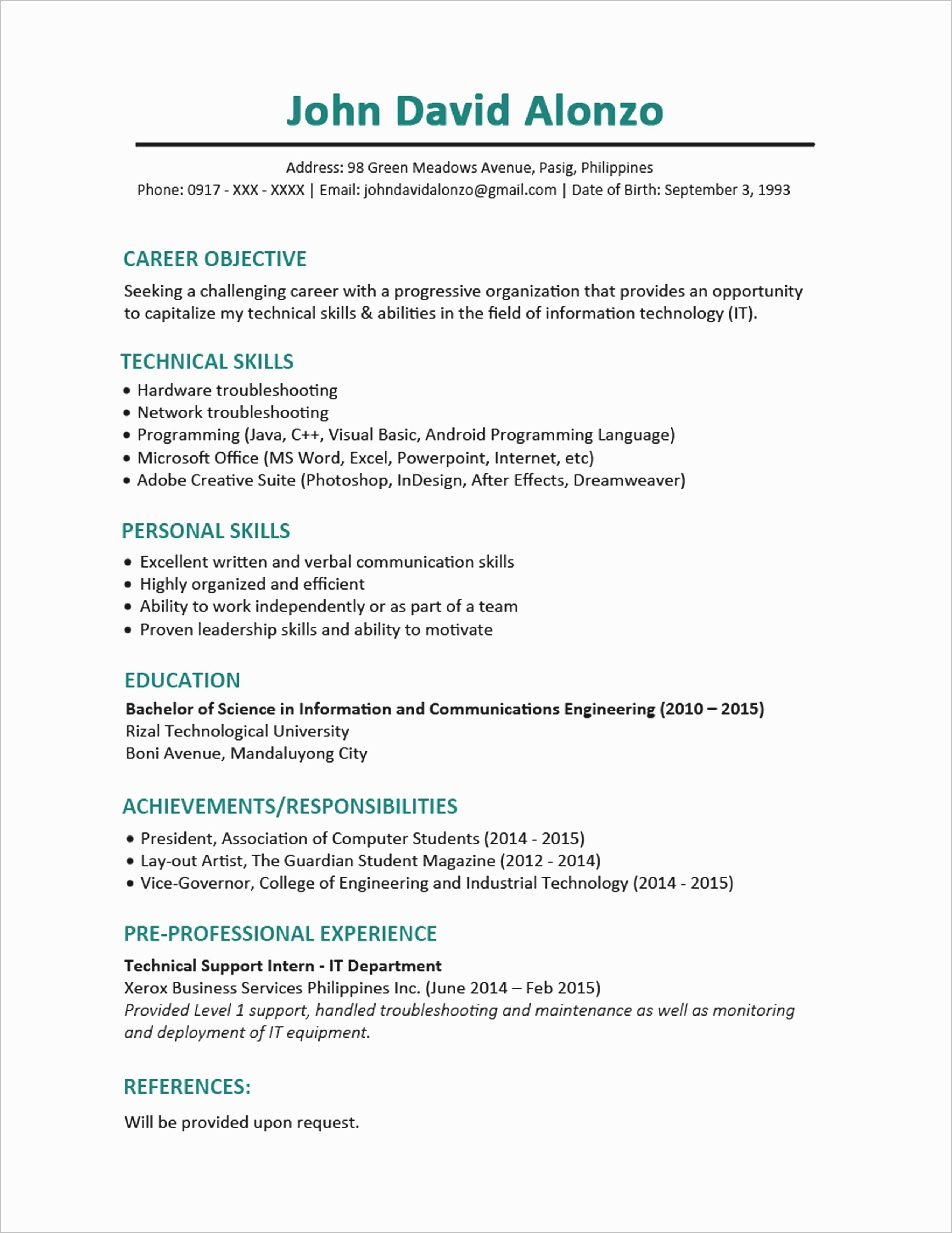 Engineering Skills Resume - How to Put A Resume to Her Fresh Inspirational Examples Resumes