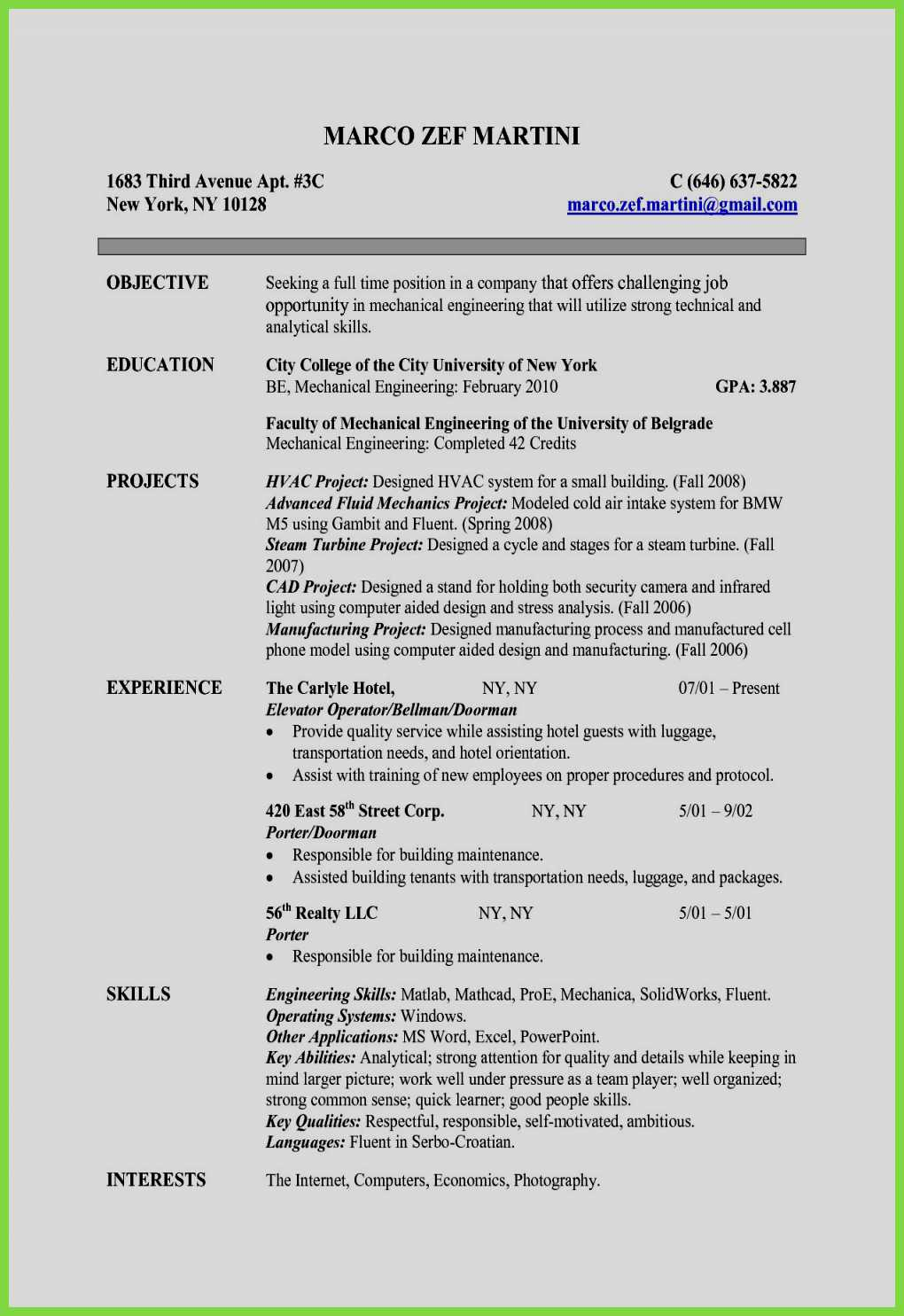 Engineering Skills Resume - Engineering Resume Template 5 Best Resume formats for Engineers