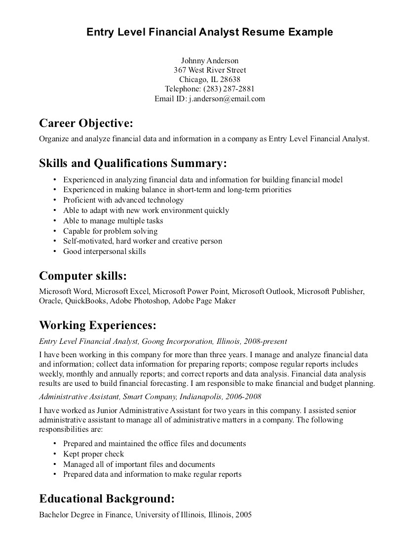 Entry Level Financial Analyst Resume - 46 Concepts Information Security Analyst Resume