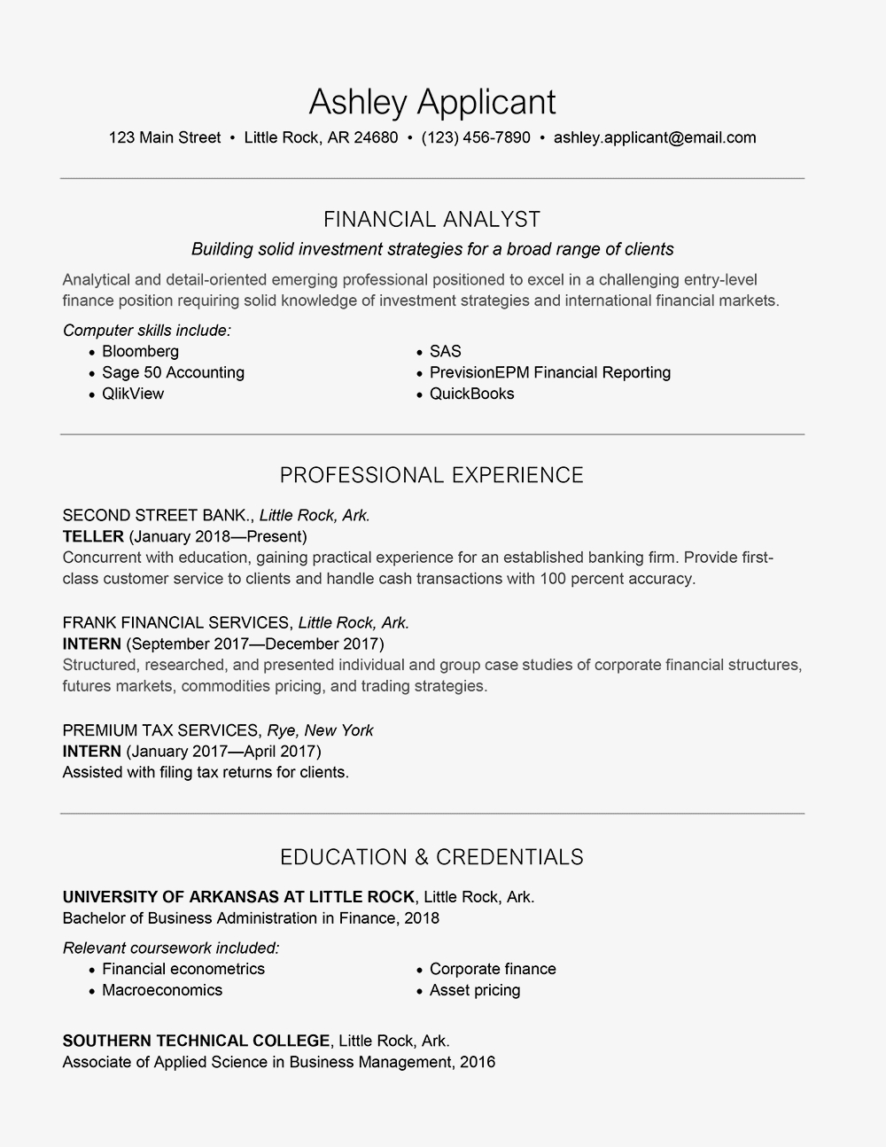 Entry Level Financial Analyst Resume - Entry Level Finance Cover Letter and Resume Samples