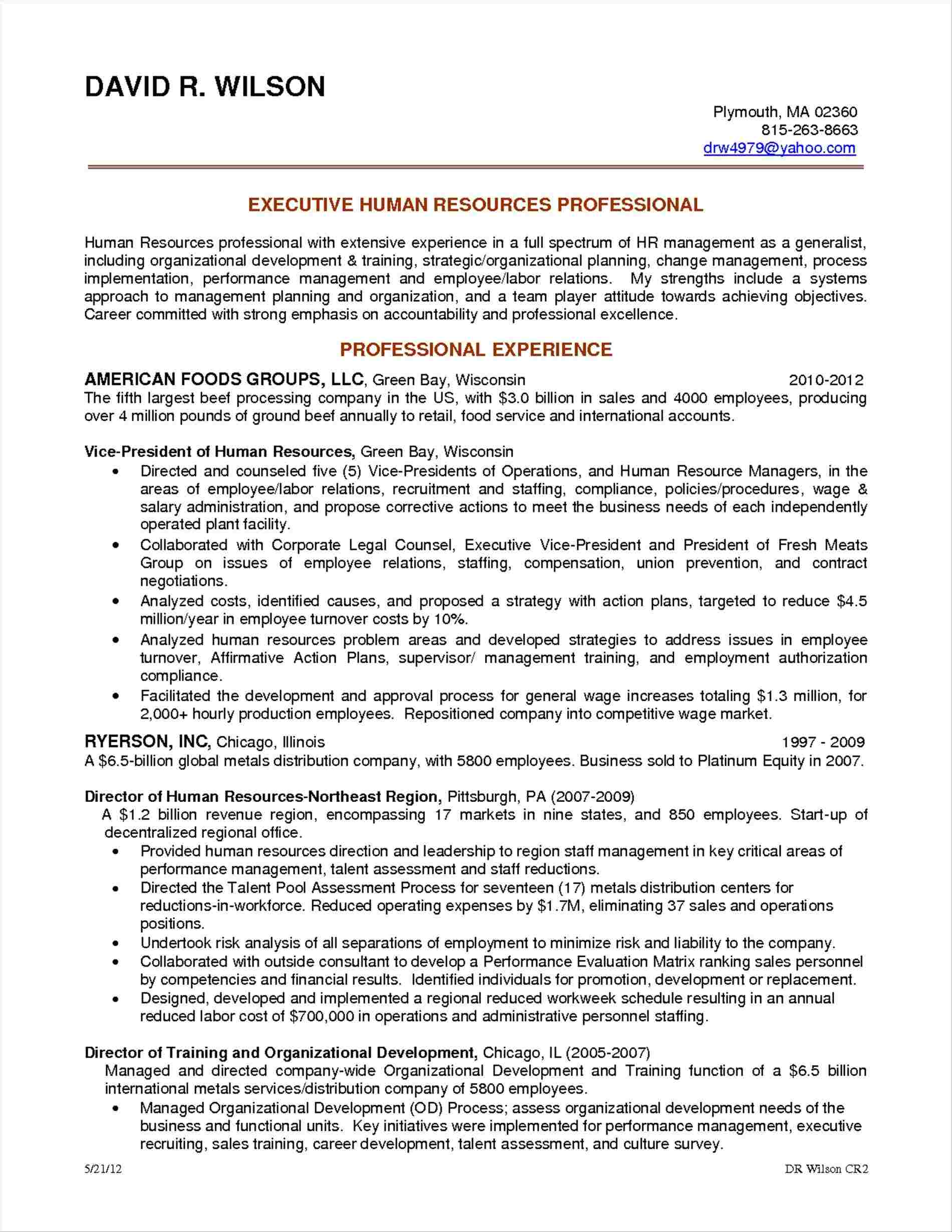 Entry Level Human Resources Resume - Recruiting Vp Human Resources Resume Examples Coordinator Sample