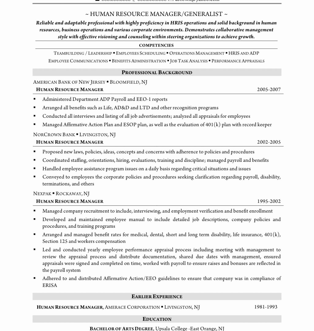 Entry Level Human Resources Resume - Human Resource Manager Resume Best 20 Human Resources Entry Level