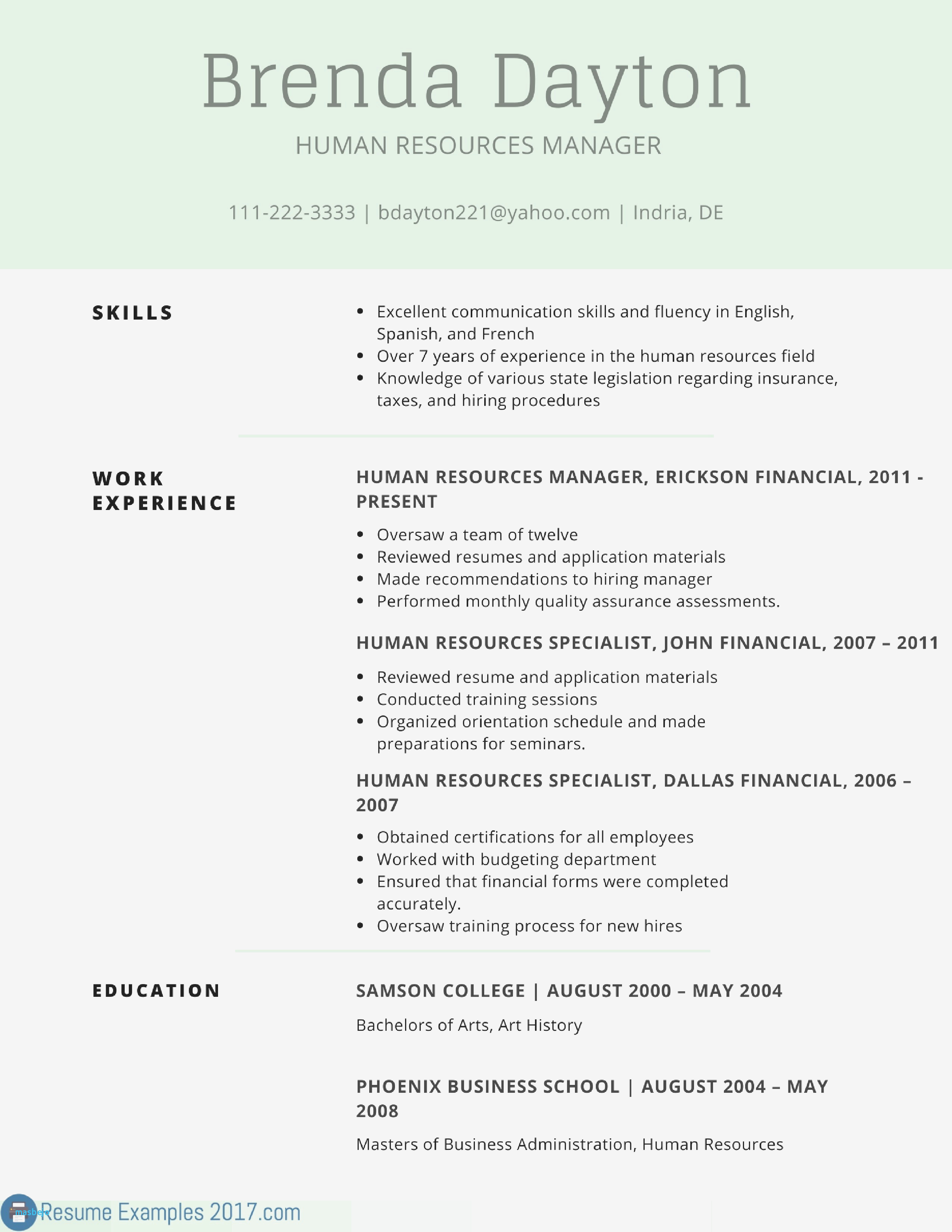 Entry Level Human Resources Resume Examples - Business Administrator Sample Resume