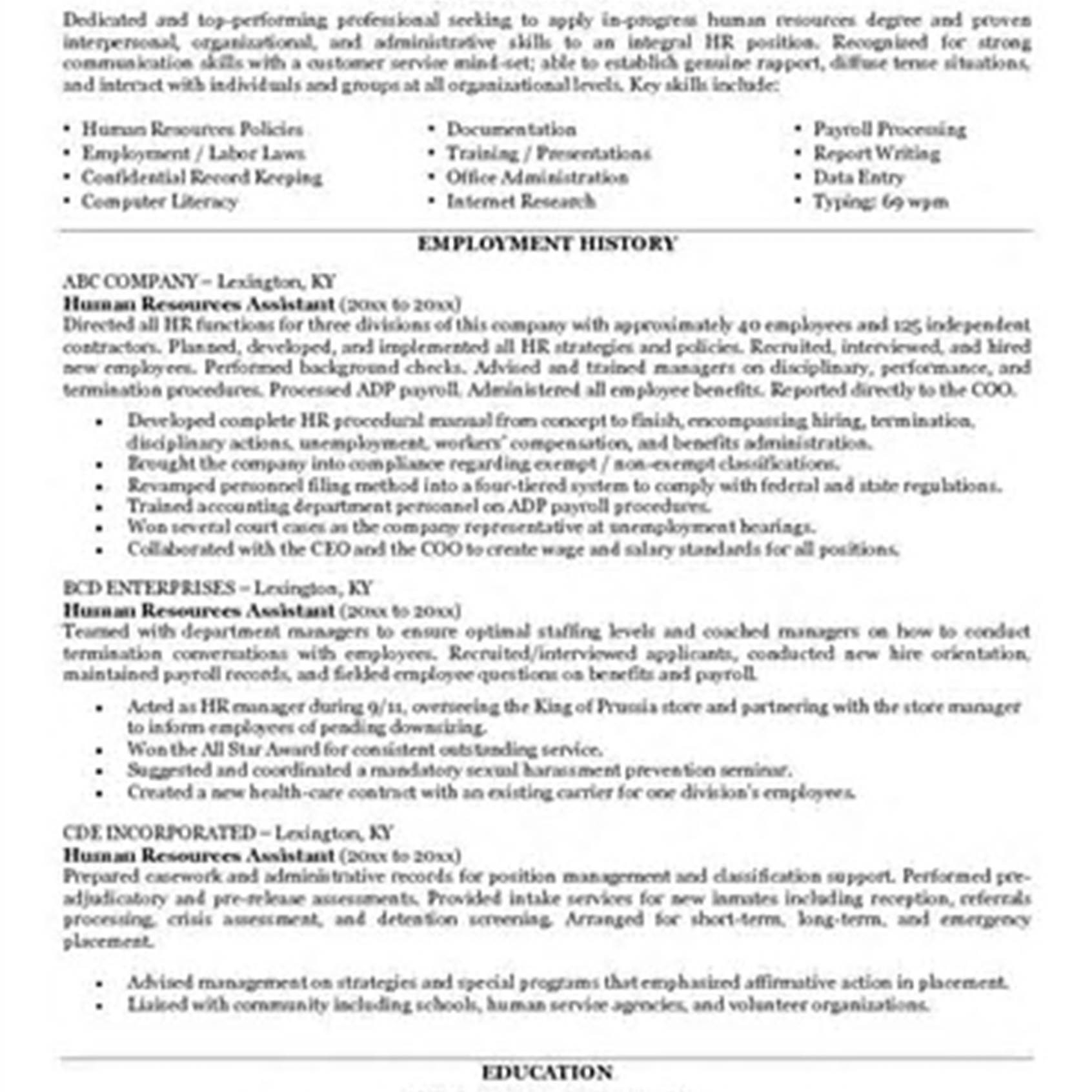 Entry Level Human Resources Resume Examples - Entry Level Human Resources Resume Valid Sample Resume Objectives