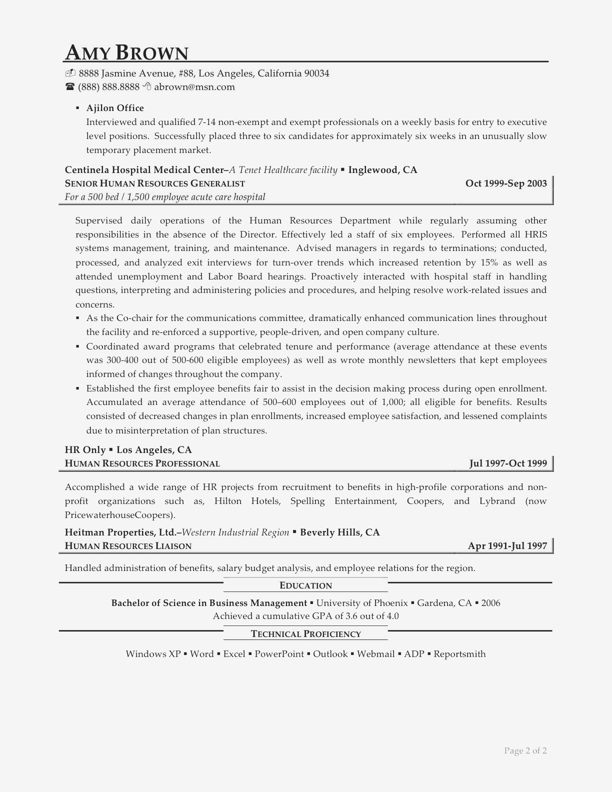 Entry Level Human Resources Resume Examples - Generalist Sample Resumes