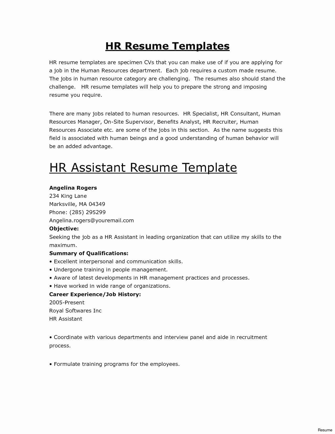 Entry Level Human Resources Resume Sample