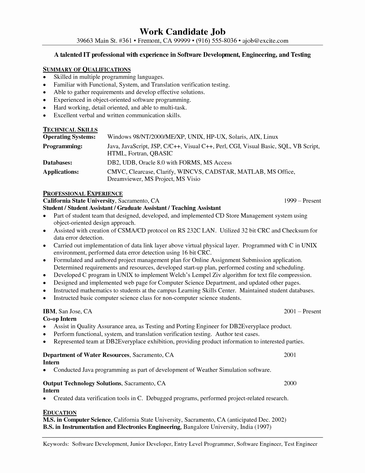 Entry Level Information Technology Resume with No Experience - Entry Level Information Technology Resume with No Experience