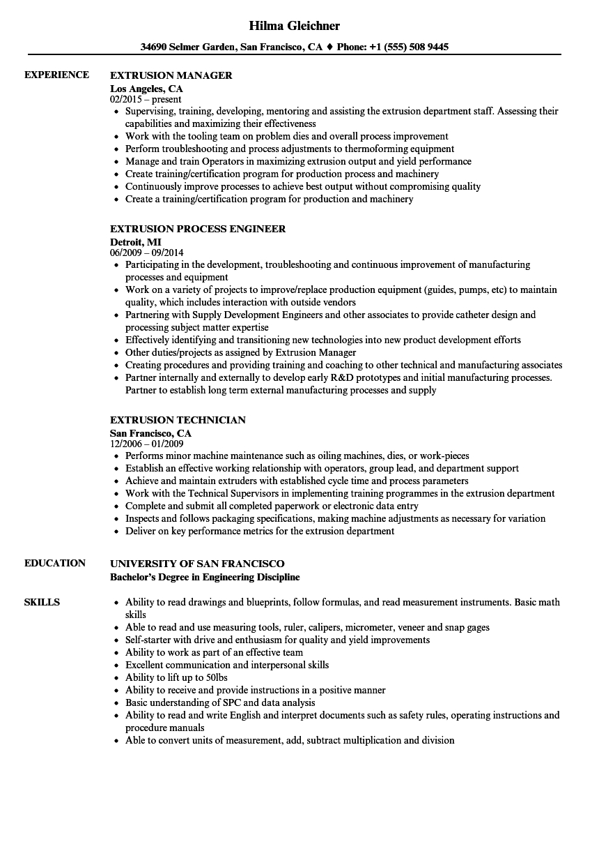 Entry Level Process Operator Resume
