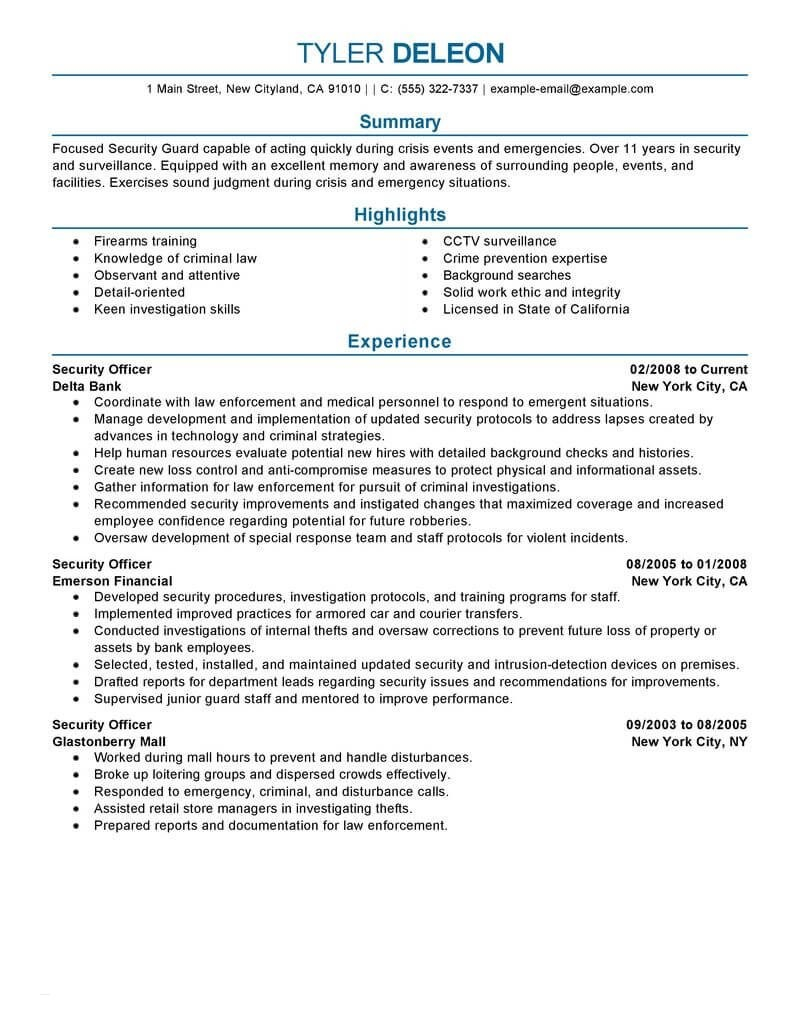 Entry Level Security Guard Resume Sample - 20 Unique Security Ficer Resume Sample