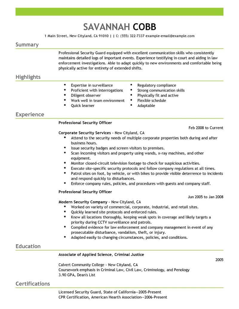 Entry Level Security Guard Resume Sample - Best Professional Security Ficer Resume Example