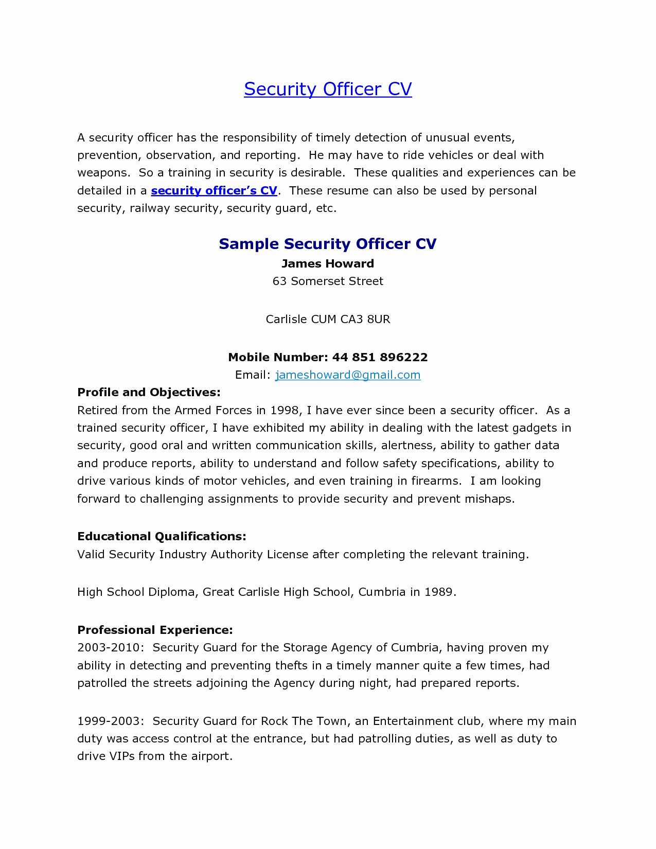 Entry Level Security Guard Resume Sample - Sample Resume for Overnight Stocker Luxury Security Guard Resume