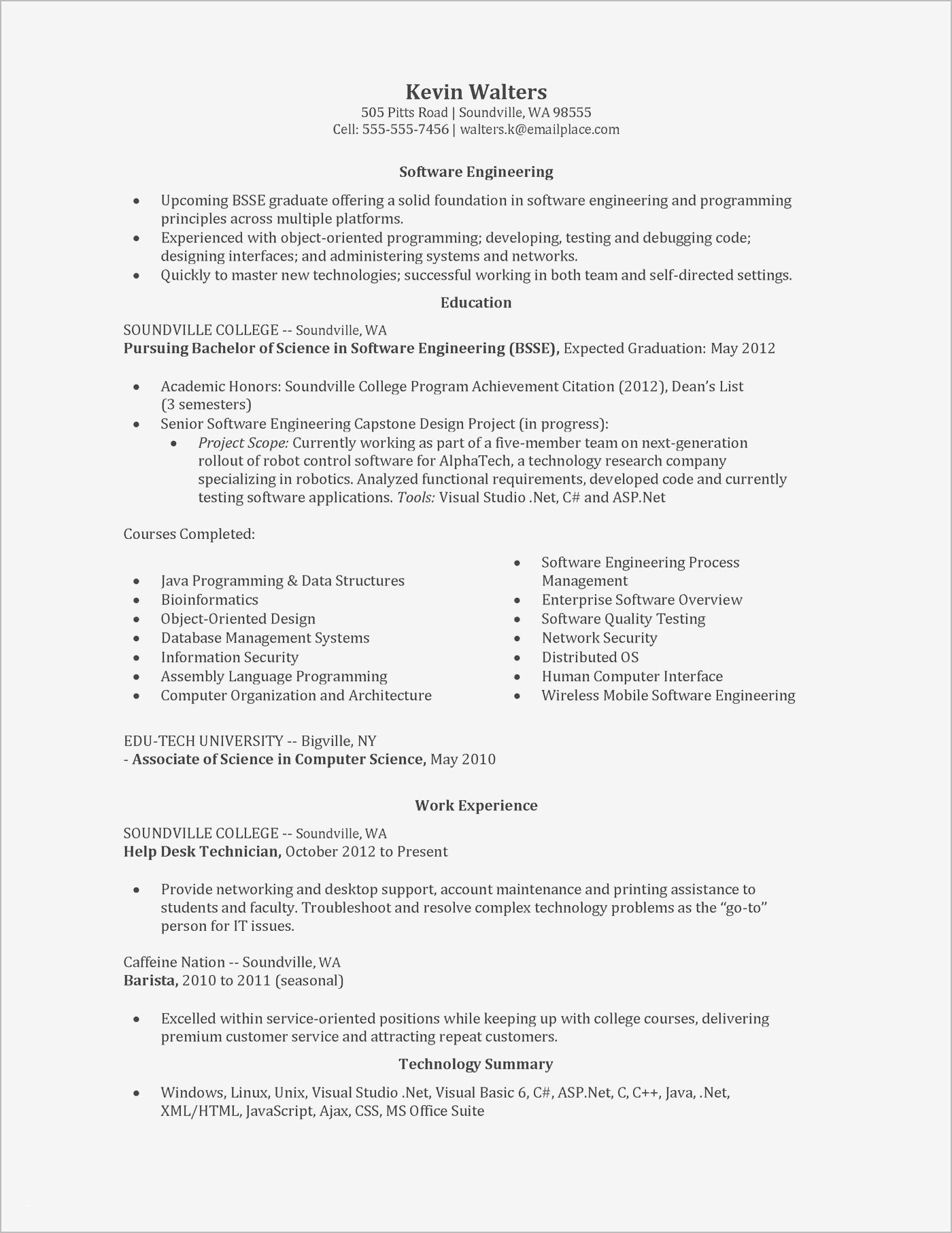 Entry Level software Resume - 16 Awesome Entry Level software Engineer Resume