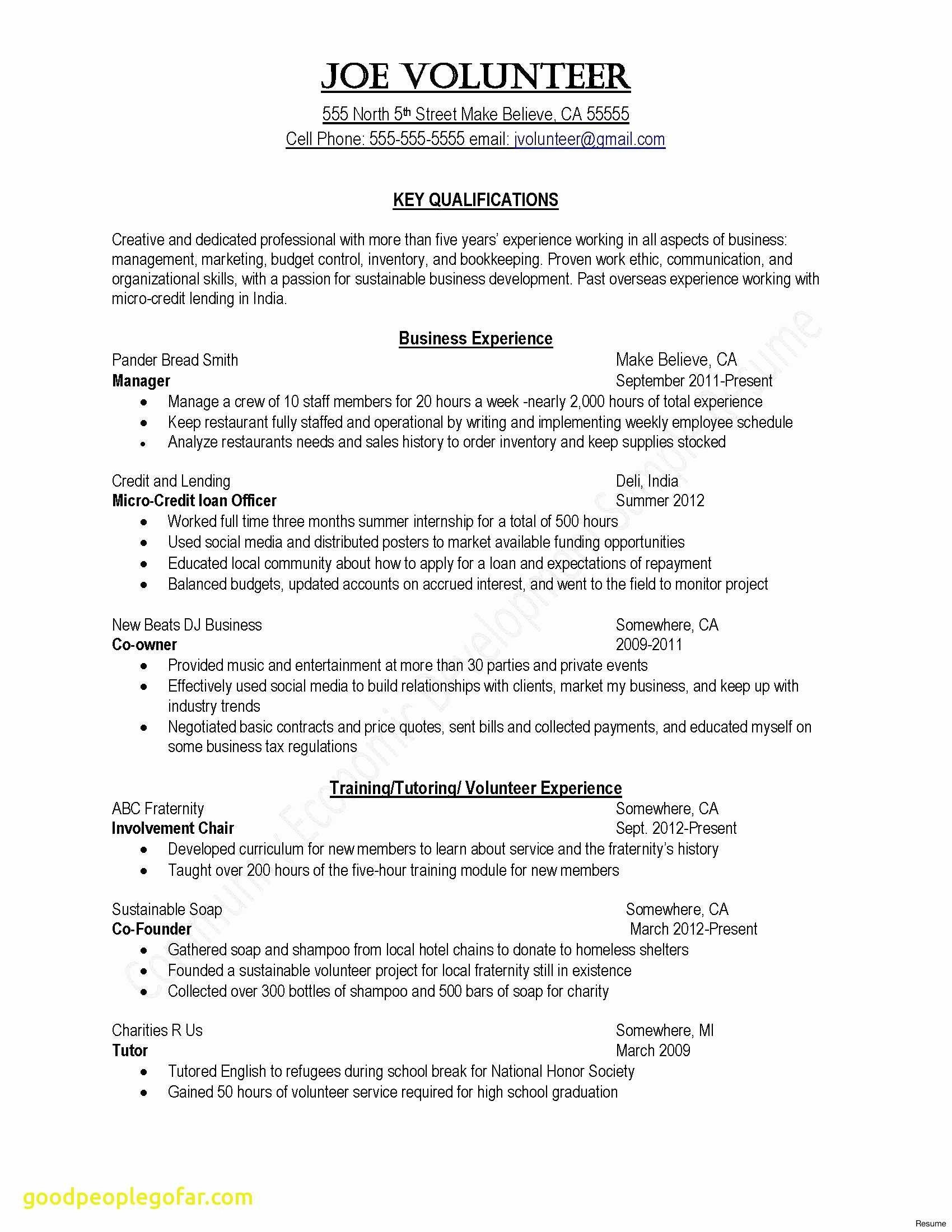 Examples Of Supervisor Resumes - Model Resume Template Beautiful Elegant Sample College Application