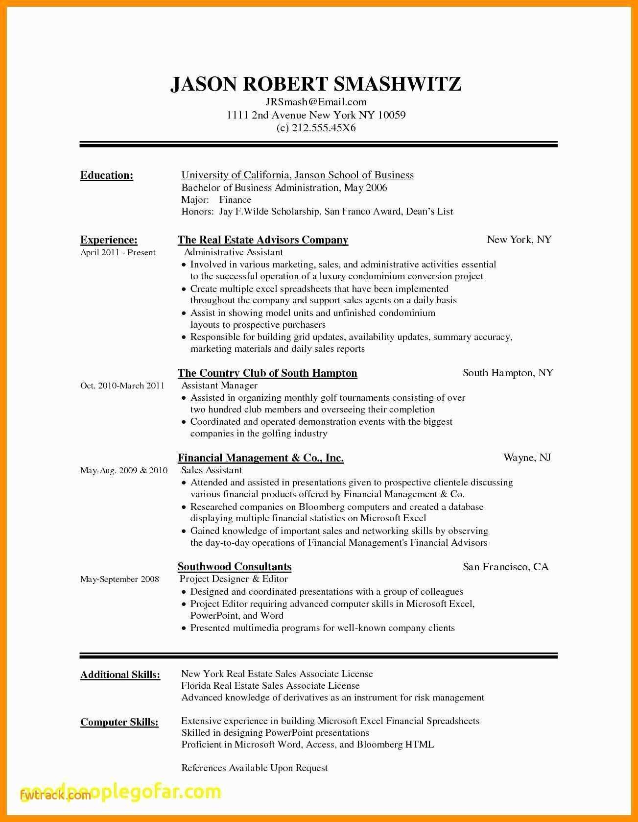Excel Resume Template - Resume Templates for Pages Fwtrack Fwtrack