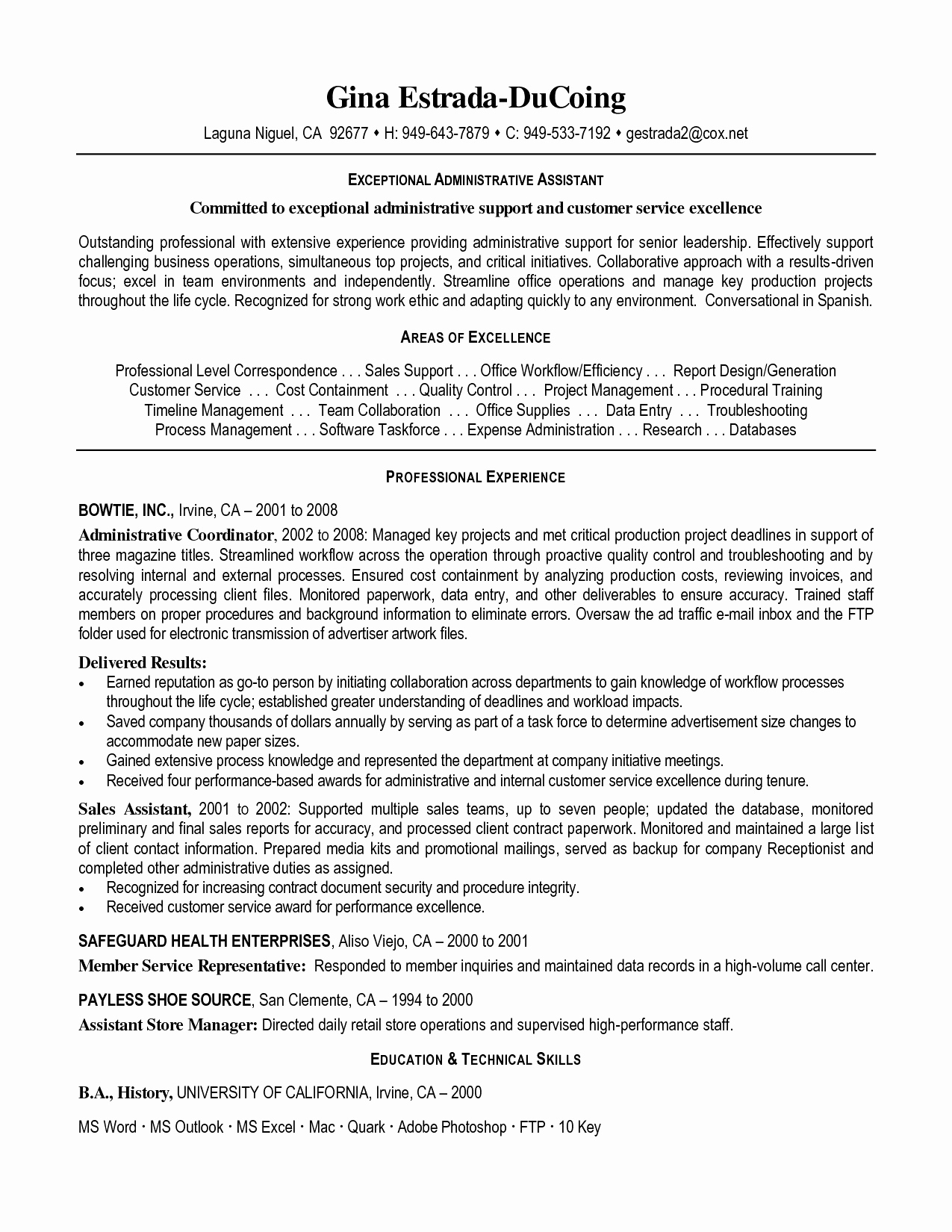 Executive assistant Resume Template Word - Celebrity Personal assistant Resume Elegant Resume Puter Skills