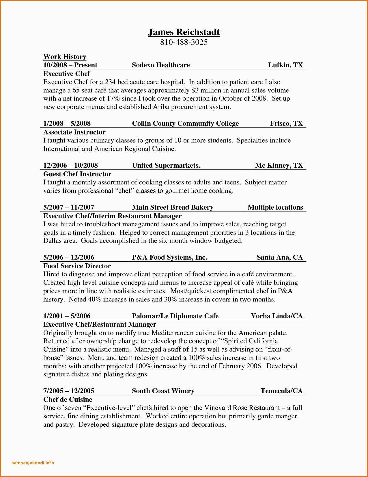 Executive Chef Resume Template - Chef Resume Template Line Cook Resume Examples New Professional Chef