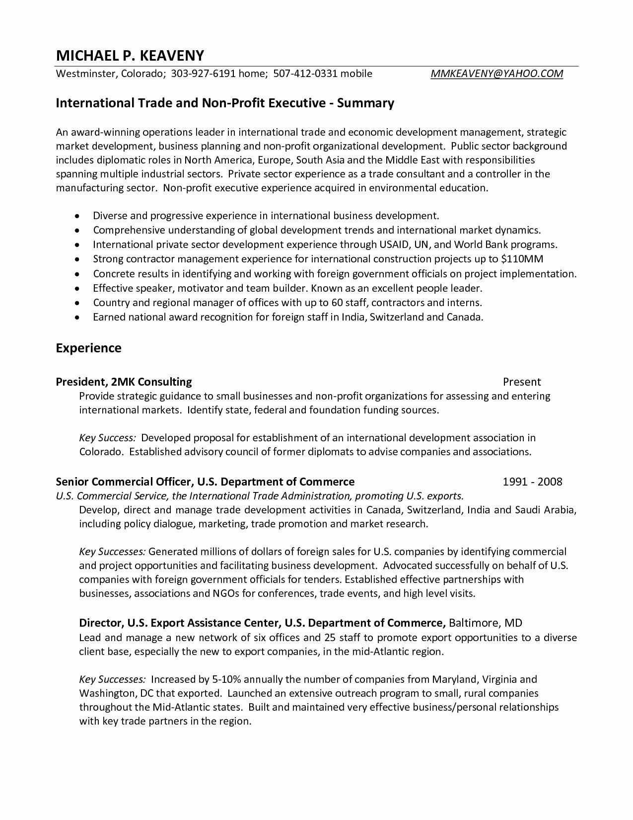 Executive Summary Resume Samples - Business Resume Examples Fresh Resume or Cv Unique American Resume