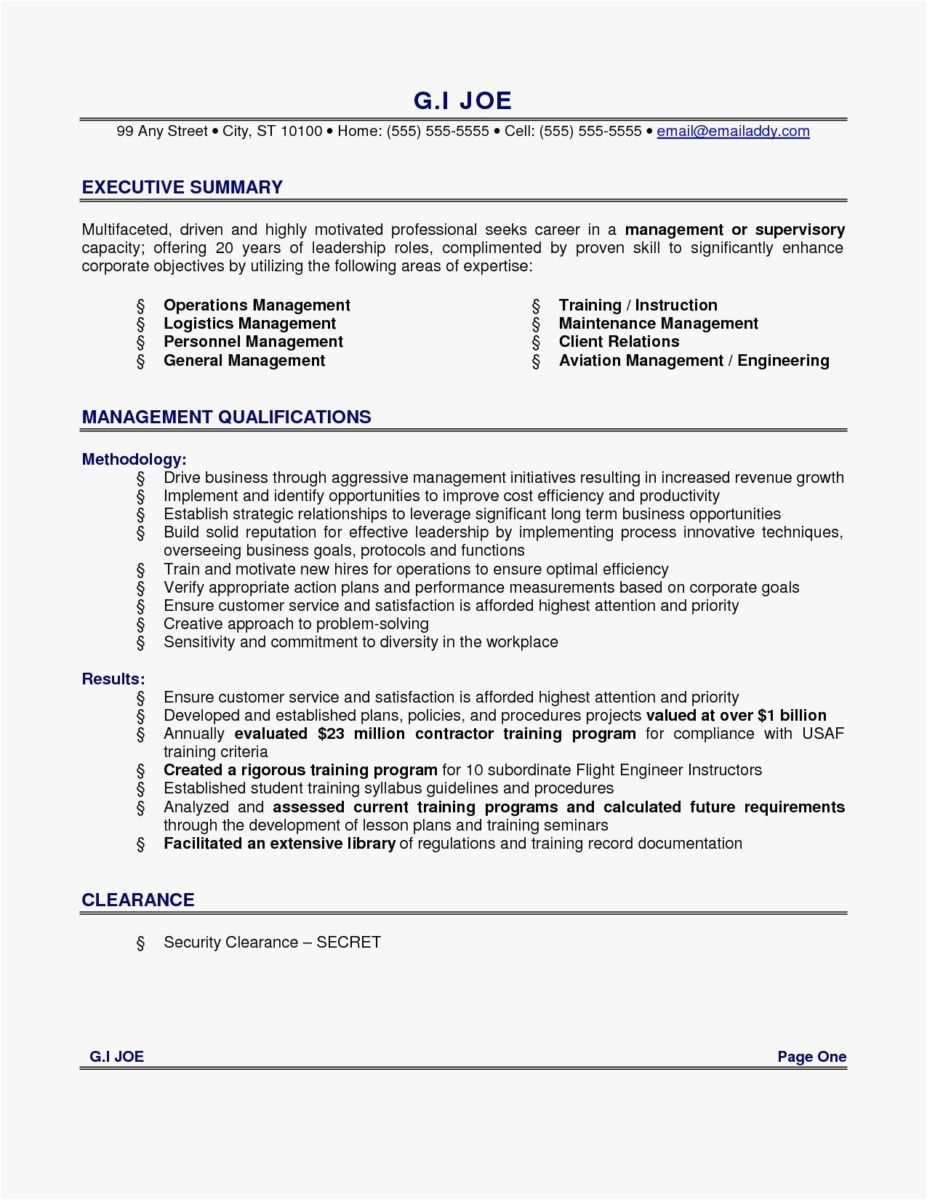 Executive Summary Resume Samples - √ Free Executive Summary Template Cool Operations Management Resume
