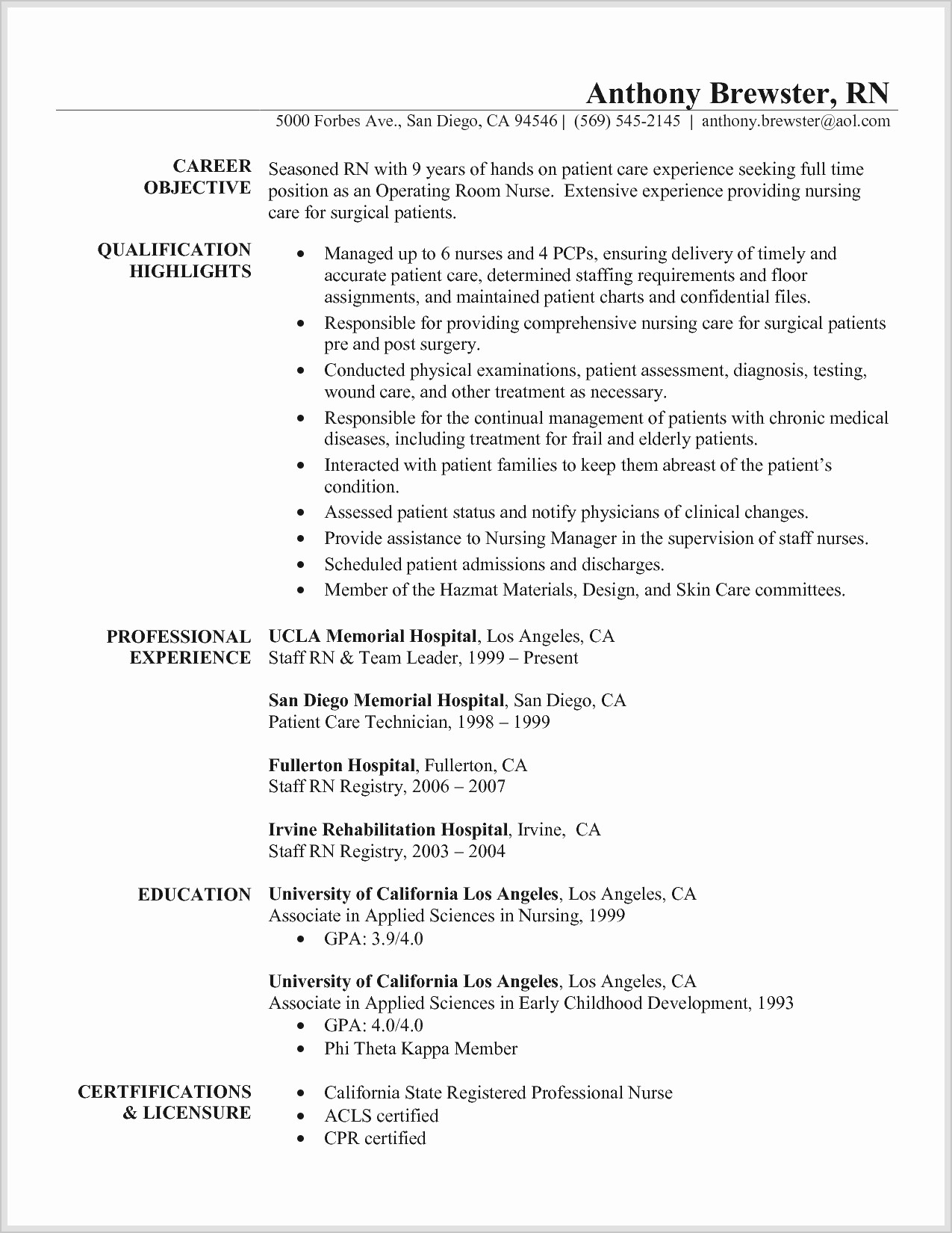 Experienced Nurse Resume Template - Rn Resume Template Beautiful Rn Resume Templates New New Nurse