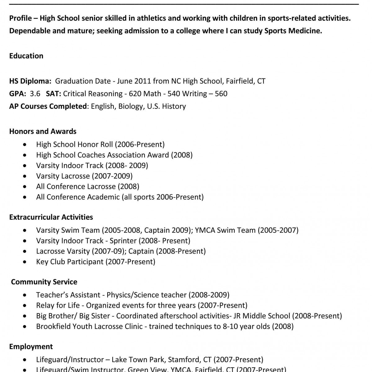 Fairfield University Resume Template - High School Resume for College Dazzling Resume Template for College