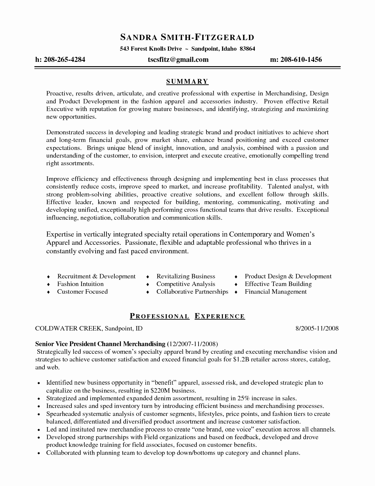 Fashion Merchandising Resume Examples