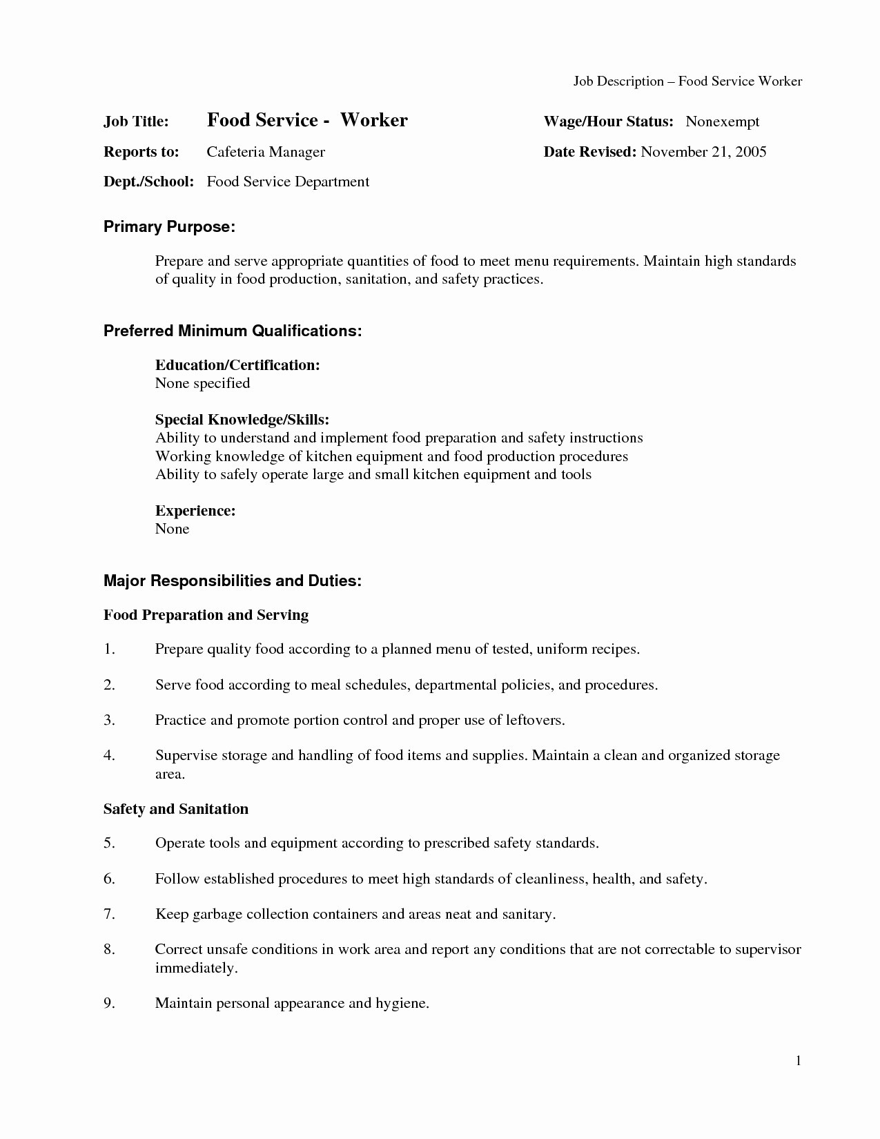 Fast Food Resume Objective - 18 Fast Food Resume Objective