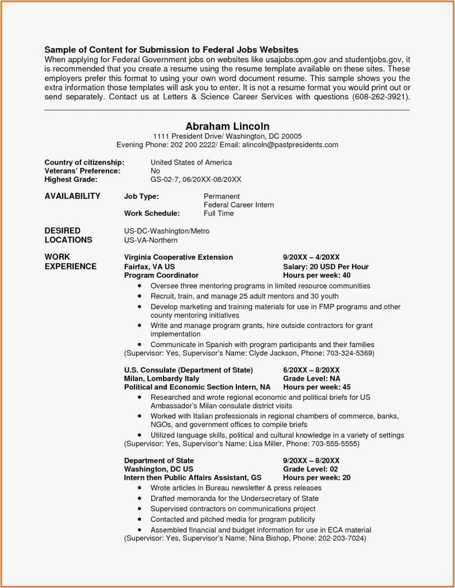 Federal Resume format - Federal Style Resume New Resume Template Samples Nanny Resume Sample