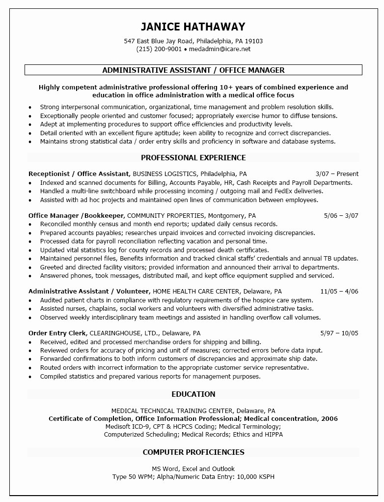 Fedex Resume - Resume Fice assistant Awesome Administrative assistant Resume