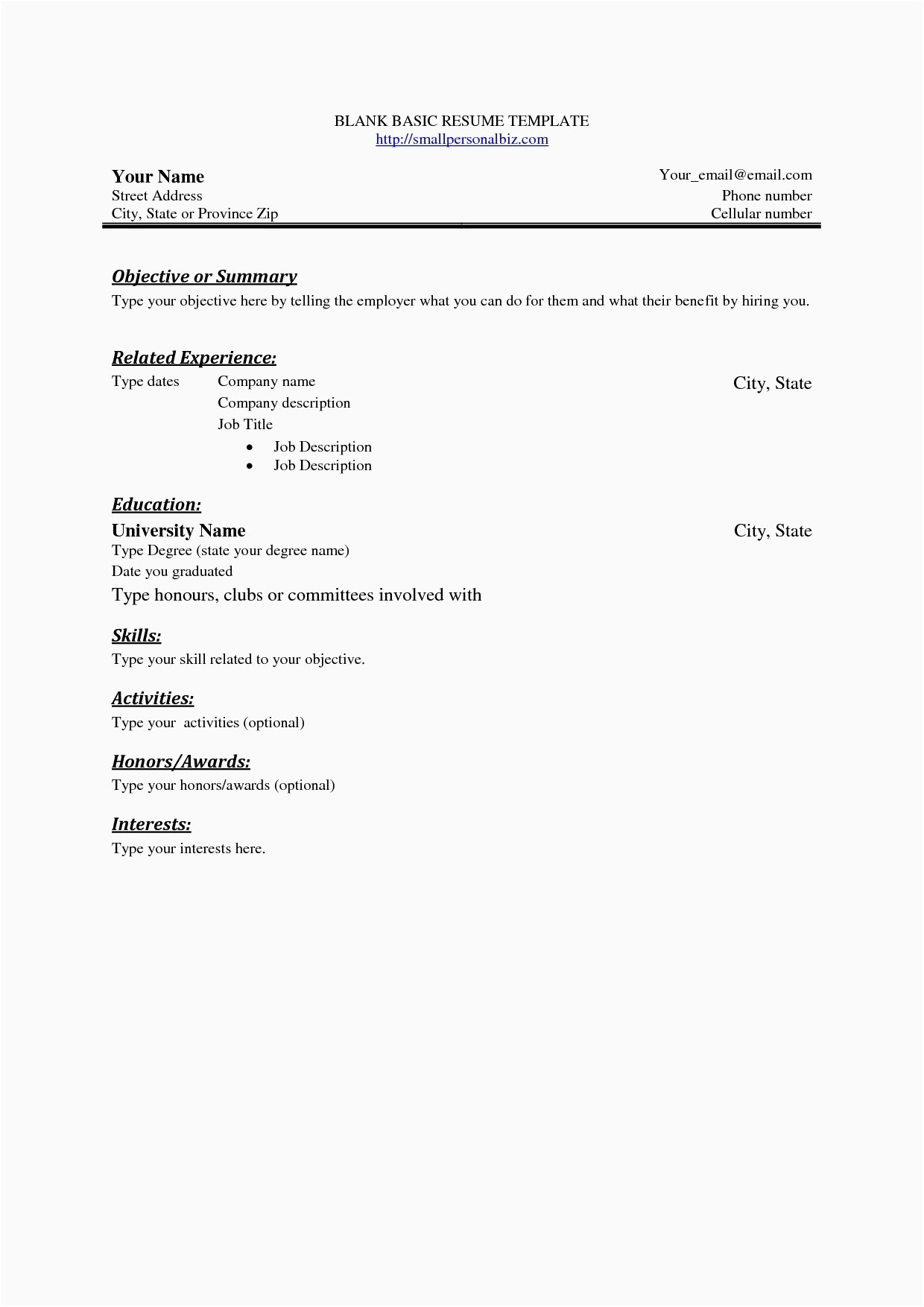 Fill In Resume Template Pdf - Resume Template Fill In