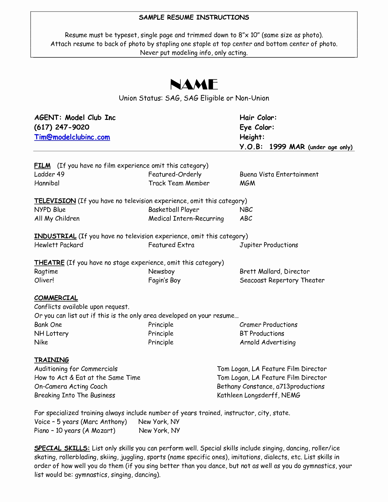 Film Actor Resume Template - Promotional Model Resume Sample Unique Model Resume Template Resume