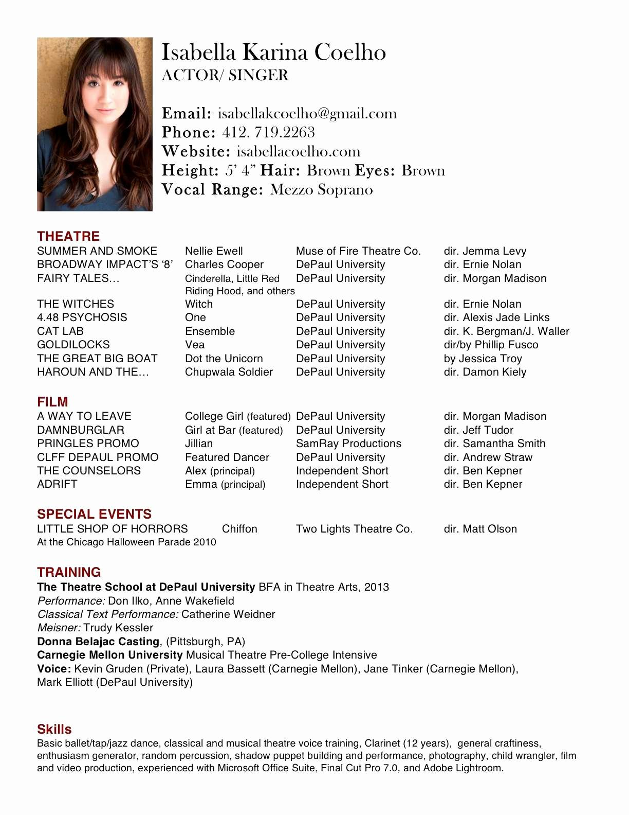 Film Production Resume Template - Resume Template Best Ressume Template Lovely Type Resume